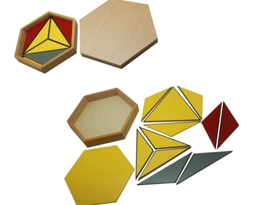 Hexagon boxes teaching Montessori sensorial