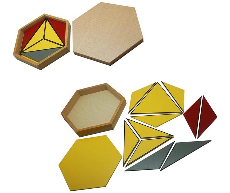 Hexagon boxes teaching Montessori sensorial