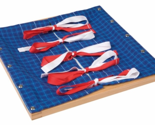 Bow tying frame to teach practical life in Montessori